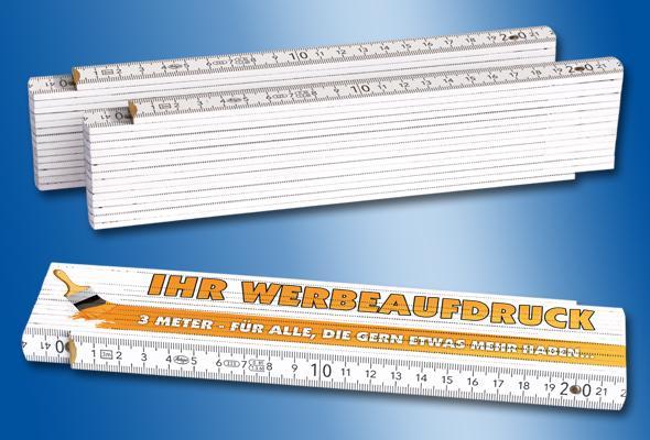 HOLZ-ZOLLSTOCK 3m weiß - Menge: 50 Stück (5,80 EUR/Stück netto) 100 Stück (5,20 EUR/S