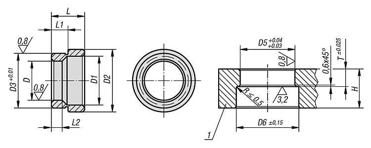 Douille de fixation forme A (montée vers l'arrière) - BALL lock