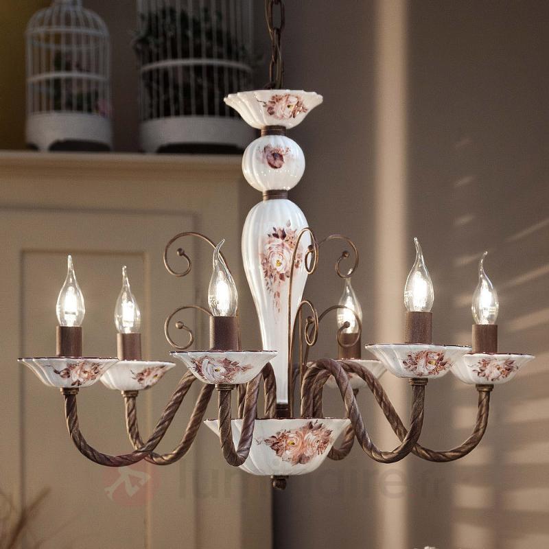 Sassari à 6 lampes Lustre en céramique - Lustres rustiques