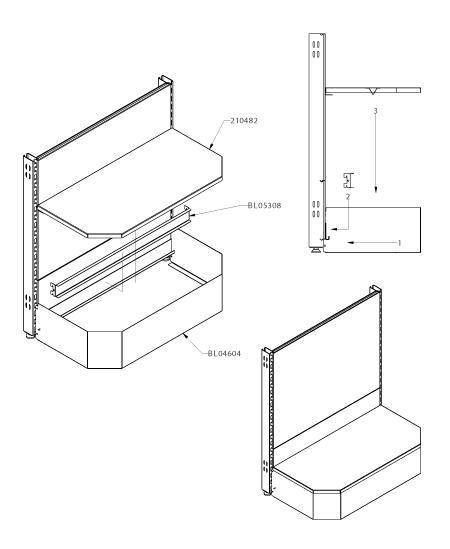 Modular shop rack systems & instore interior shelving design - Podium without adjusting screws