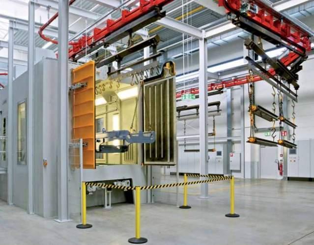 Hanger-type blast machine - Overhead Rail Shot Blast Machines to remove rust, scale, sand and burrs