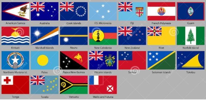 Bandiere Oceania per abbigliamento ricamate - Bandiere ricamate per abbigliamento da cucire o termoadesivare