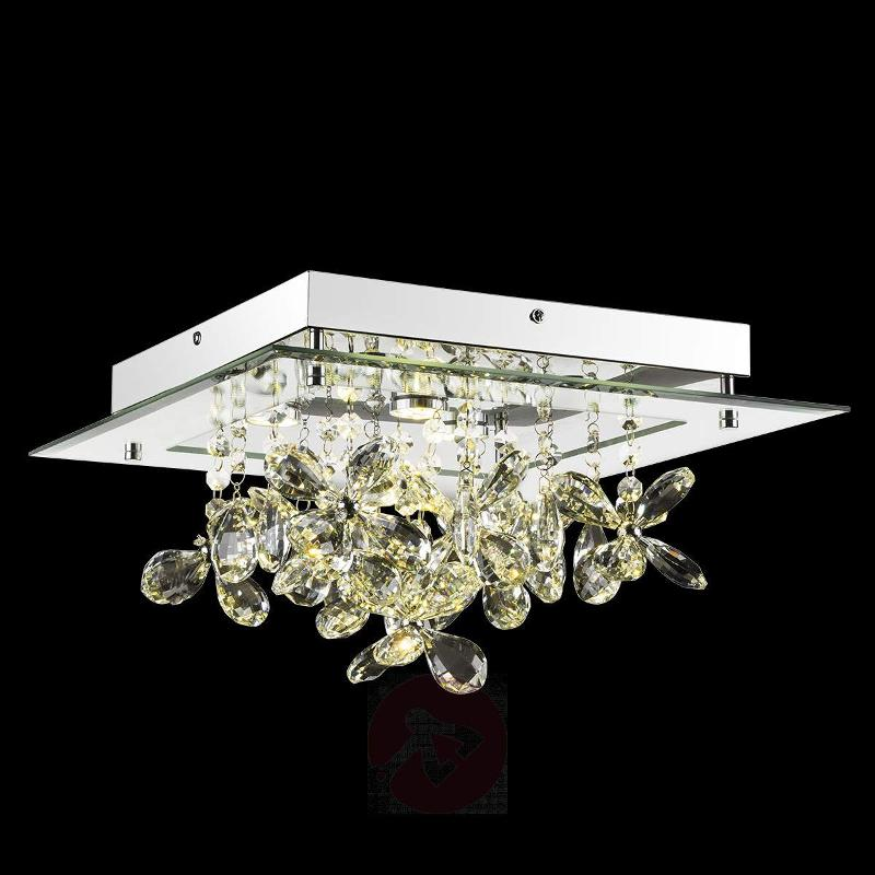 Mirrored LED ceiling lamp Gese w. crystals - Ceiling Lights