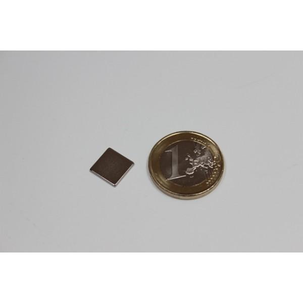 Block magnet, Neodymium, 10x10x1mm, N42, Ni-Cu-Ni,... - null