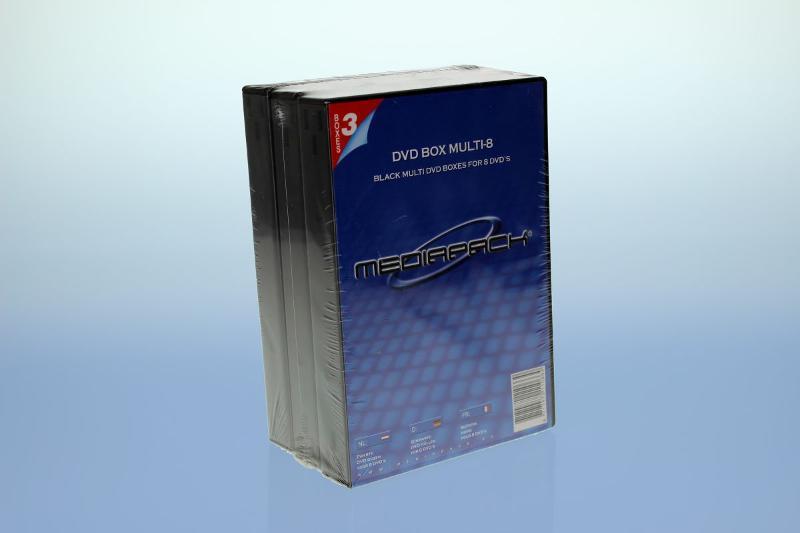 DVD Box 8-fach mit Tray - 26mm - 3er Pack - schwarz - Retailverpackungen & Zubehör