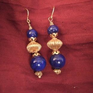 Boucles d'oreilles - Or 20ct, lapis lazuli, Inde