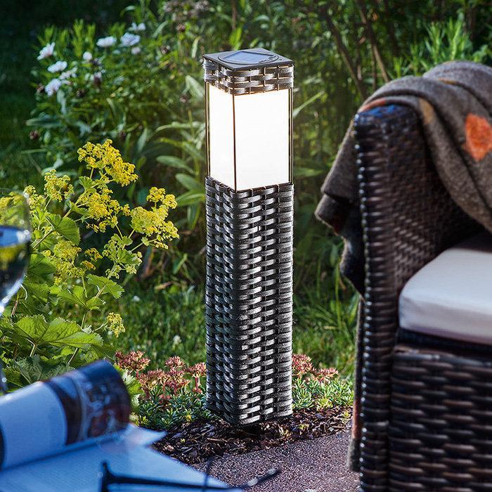 Lampadaire solaire LED Rattan - blanc froid - Toutes les lampes solaires