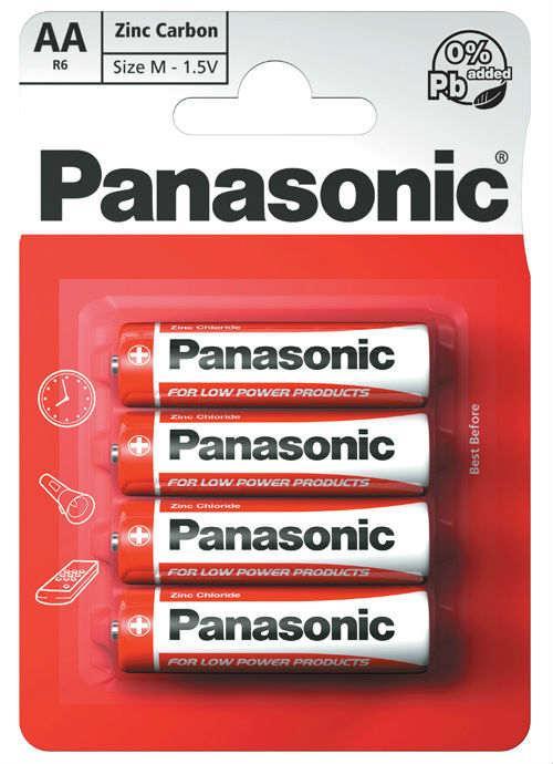 Batterie stilo zinco carbone 4 pz - R6RZ/4BP | Blister da 4 pile AA Panasonic