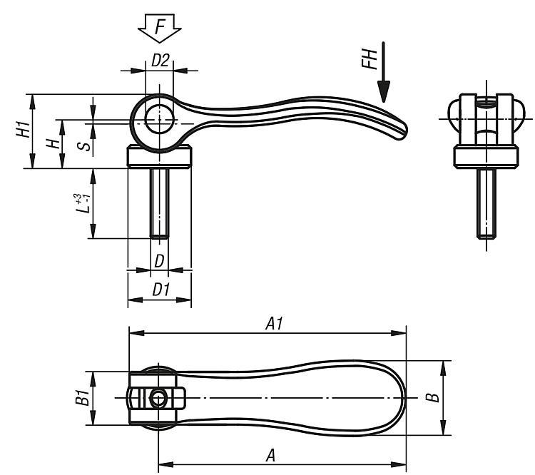 Cam Levers Internal Or External Thread, Stainless Steel, Thrust... - Clamp straps Clamping devices