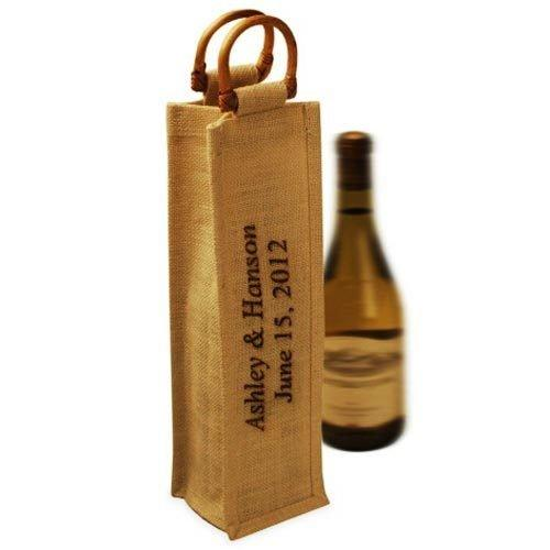 jute wine Bag  - Single unlaminated drawstring Wine Bottle or One bottle Jute/Burlap Bags