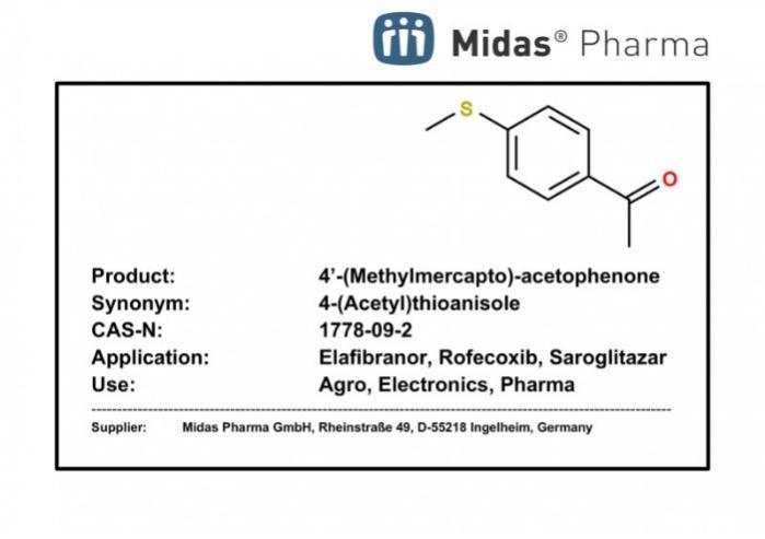 4'-(Metilmercapto)-acetofenona - 4-(acetil)tioanisol; 1778-09-2; IM para Elafibranor, Rofecoxib, Saroglitazar