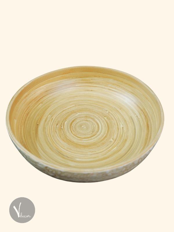 Beige Eggshell Inlay Bamboo Salad Bowl - Shop