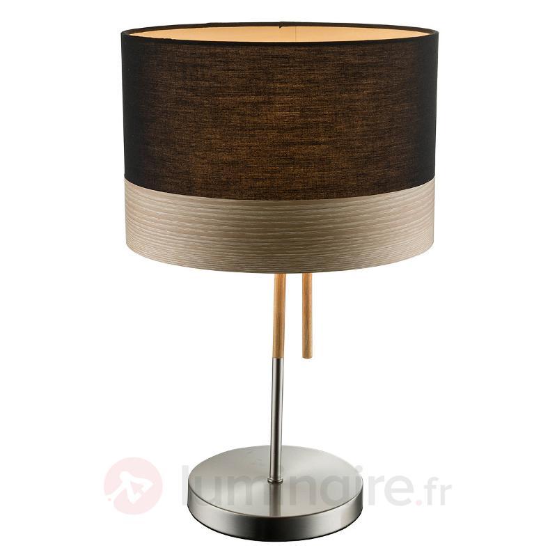 Grosse lampe à poser Libba, bois noir - Lampes à poser en tissu