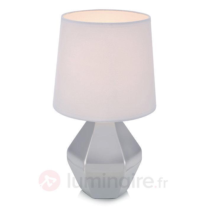 Lampe à poser Ruby avec pied céramique argenté - Lampes à poser en tissu