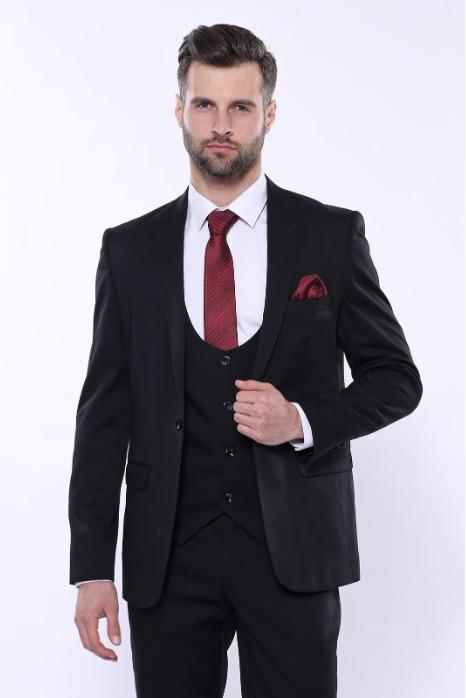 Black Plain Vested Suit - Black Poly-Viscose Plain Vested Suit