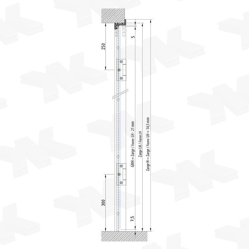 Angular single acting door frame - Glass door frame