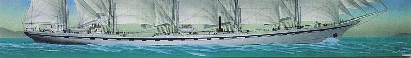 130x30 cm ~ Peinture, Acrylique ~ Toile - Five masted sailing ship France II 2009
