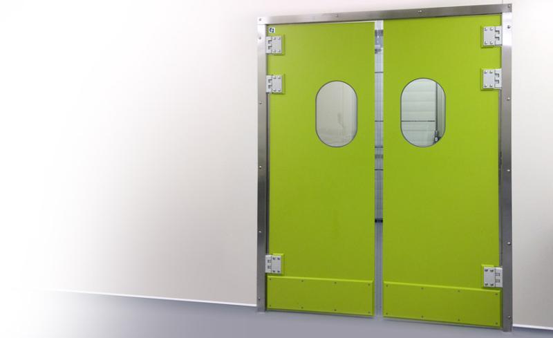 Porte va et vient double action en polyéthylène - Portes et protections en polyéthylène