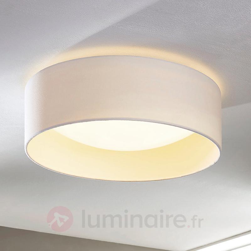 Plafonnier en tissu blanc Franka à LED - Plafonniers en tissu