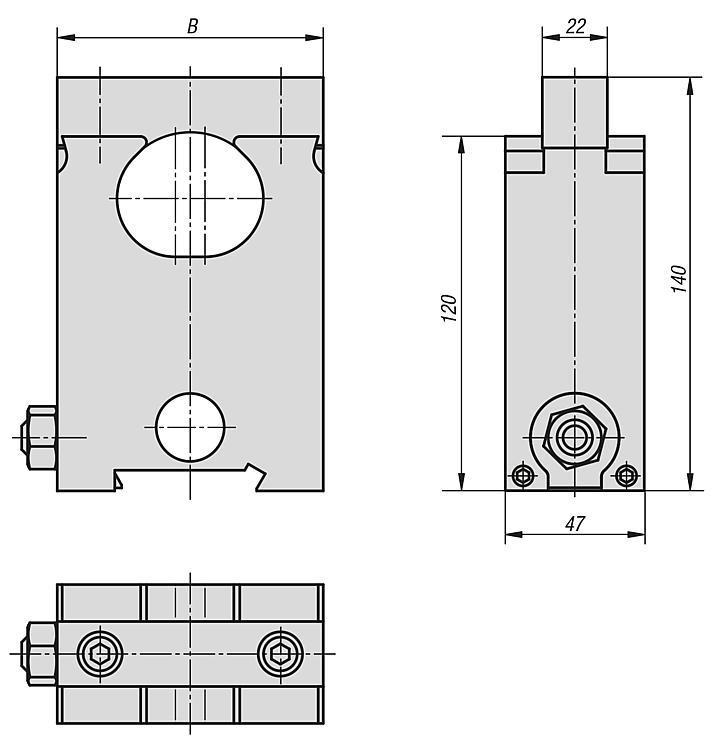 Mors intermédiaire - Etau de bridage 5 axes compact