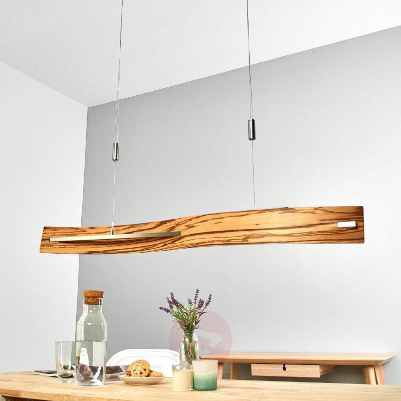 Zebrano wood Talu LED hanging light, dimmable - Pendant Lighting