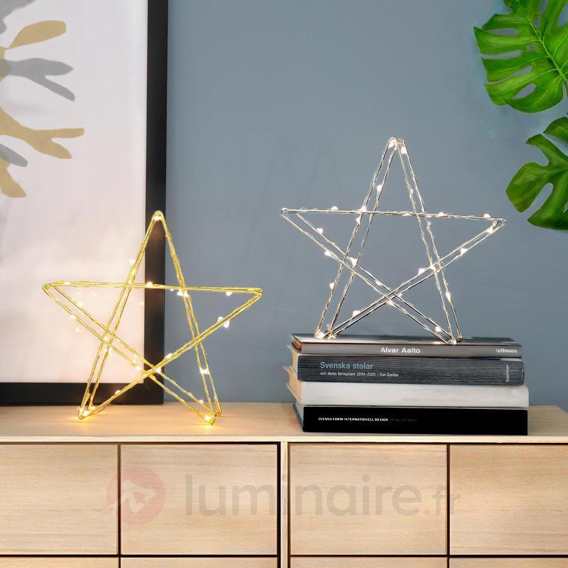 Étoile LED Super 25 cm chromée à piles - Etoiles de Noël