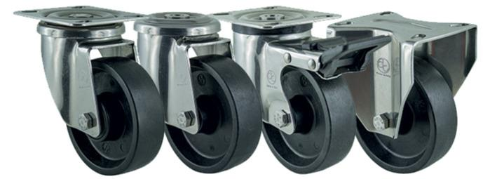 Ditherm STW - Heat resistant wheels and castors in THT® material, resistance -70°C +280°C