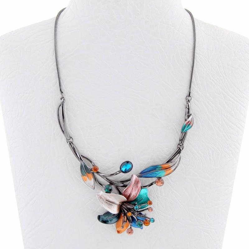 Pendentif Belle miss - Pendentif Belle miss pendentif feuilles émaillées multicolores, strass & cristal