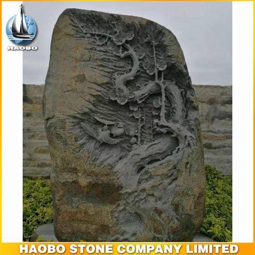 Beautiful Wintersweet Basalt Stone Sculpture For Landscape