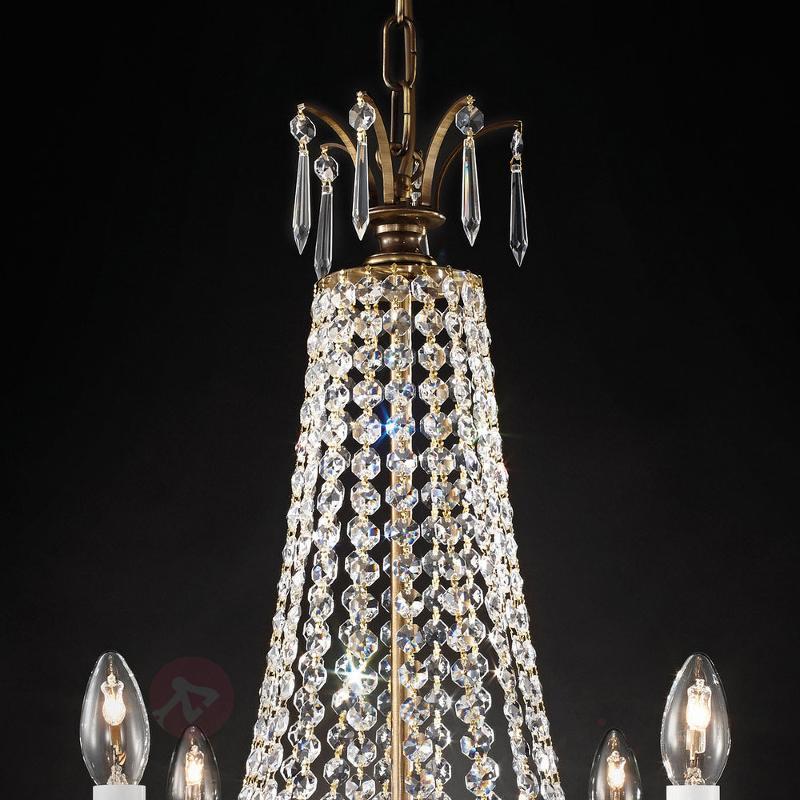 Lustre cristal Empire à six lampes, laiton - Lustres en cristal