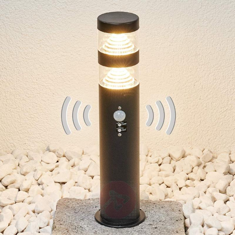 Lanea LED stainless steel pillar lamp with sensor - Pillar Lights
