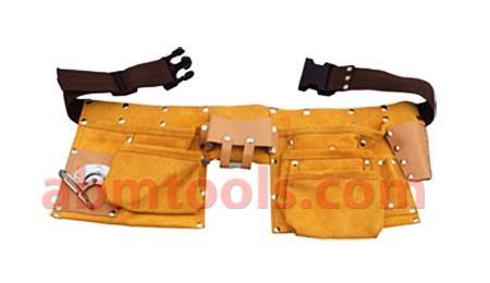 10  Pocket Large  Split Leather Carpenter Apron - Double Stitched with adjustable Belt & Quick Release Buckle.