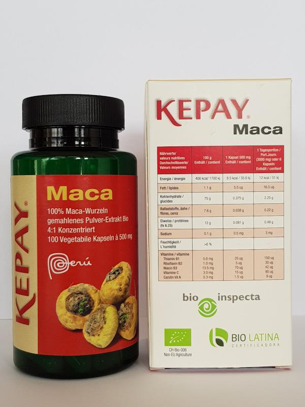 Maca Bio KEPAY - Maca Bio KEPAY Dose mit 100 Vegetabile Kapseln von 500 mg