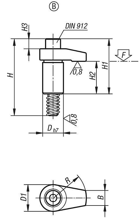Vérin de bridage rectifié Formes A/B/C - Bridages pivotants, crochets de serrage
