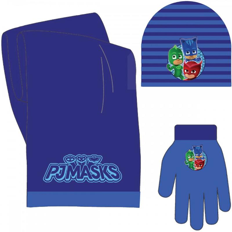 3x Echarpes et bonnets et gants PJ MASKS STRIPES - Bonnet Gant Echarpe