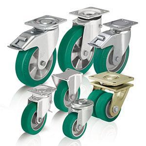 Rodas e rodízios de poliuretano - Para cargas pesadas com rasto em poliuretano fundido Blickle Softhane®