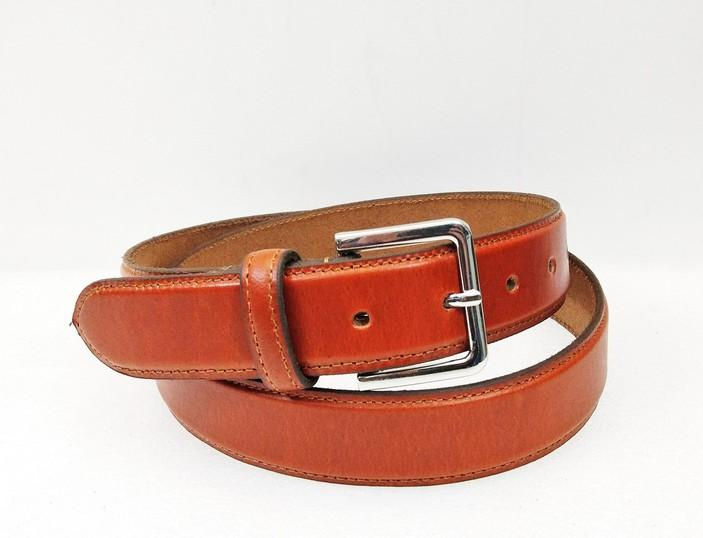 Leather Dress Belt  - Tan Colour Profile Grain Leather Belt