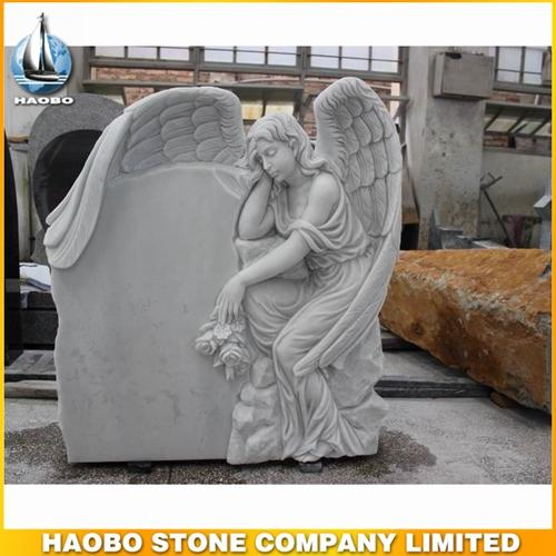 White Marble Weeping Angel Memorial Statue For Funeral