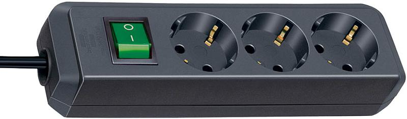 Eco-Line extension socket with switch 3-way black 1,5m - null