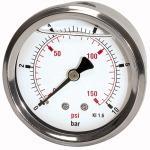 Glycerine pressure gauge pressure line G 1/4,... - Glycerine-filled pressure gauge, connection on rear, centrical