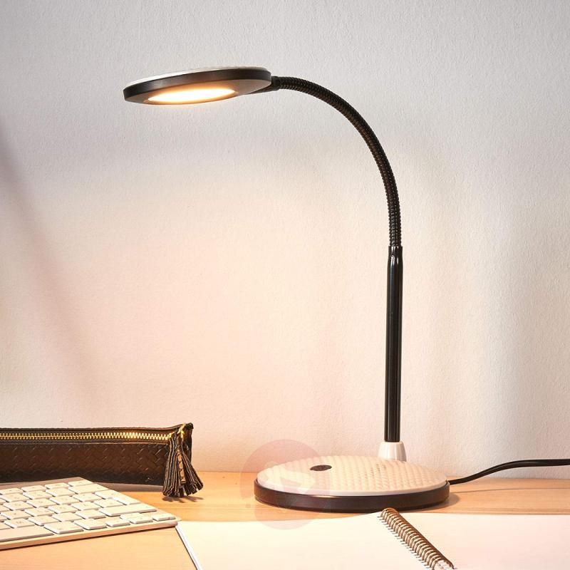 LED desk lamp Ivan in light grey and black - indoor-lighting