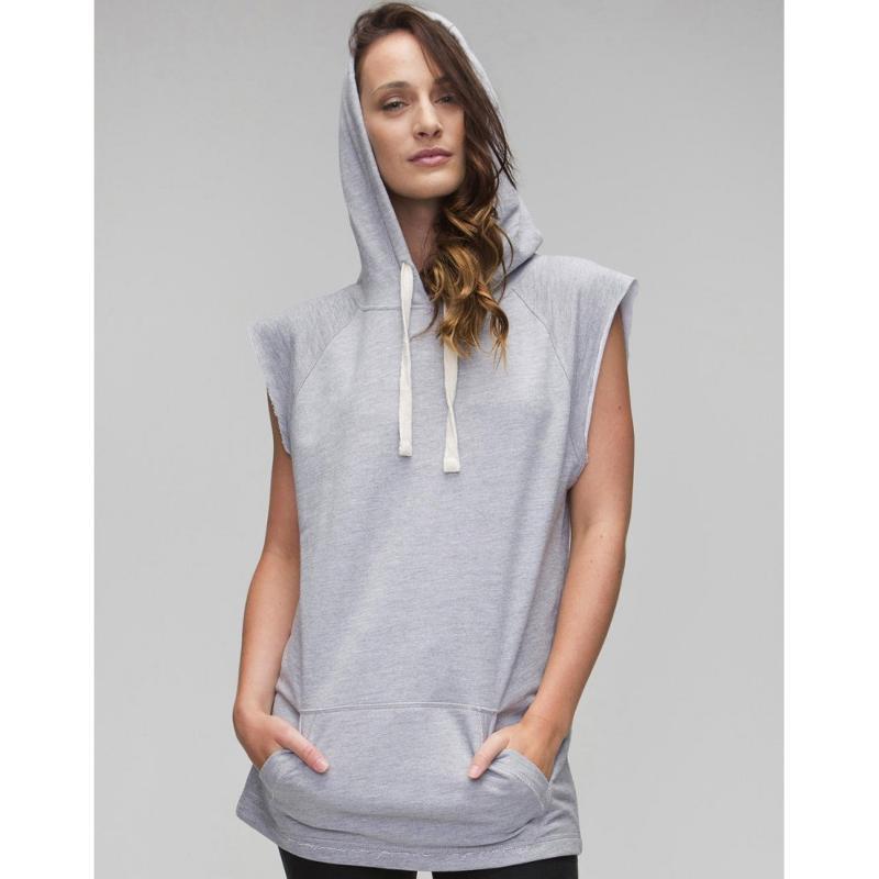 Sweat shirt femme sans manches - Avec capuche