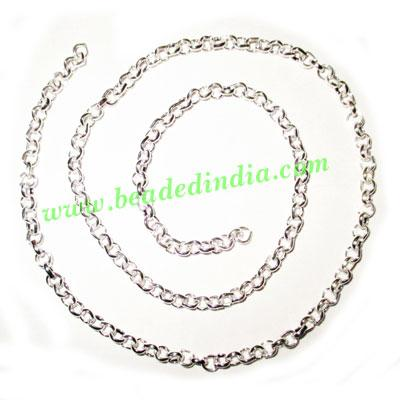 Silver Plated Metal Chain, size: 1x5mm, approx 27 meters in  - Silver Plated Metal Chain, size: 1x5mm, approx 27 meters in a Kg.