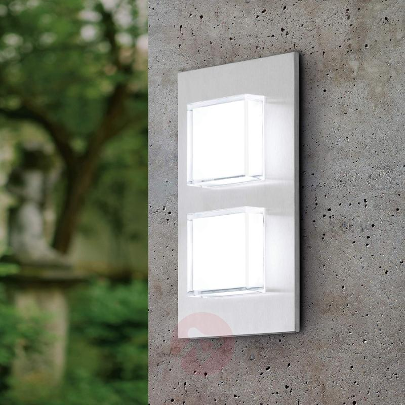 Pias LED Outside Wall Light Two Bulbs - stainless-steel-outdoor-wall-lights