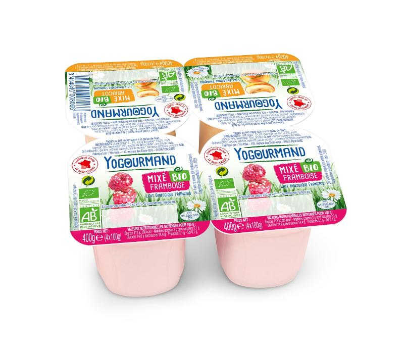 Yaourt Yogourmand Bio Panaché Framboise et Abricot mixé - Produits laitiers