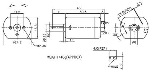 3-24V 5W 10000-18000RPM 24*30 Nichibo PC-280 DC motor - car side mirror, central locks, printer, vending machine, beauty equipment