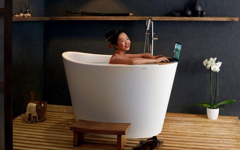 True Ofuro Ванна в Японском Стиле - Сидячая, каменная, размер 131 x 92 x 85 см