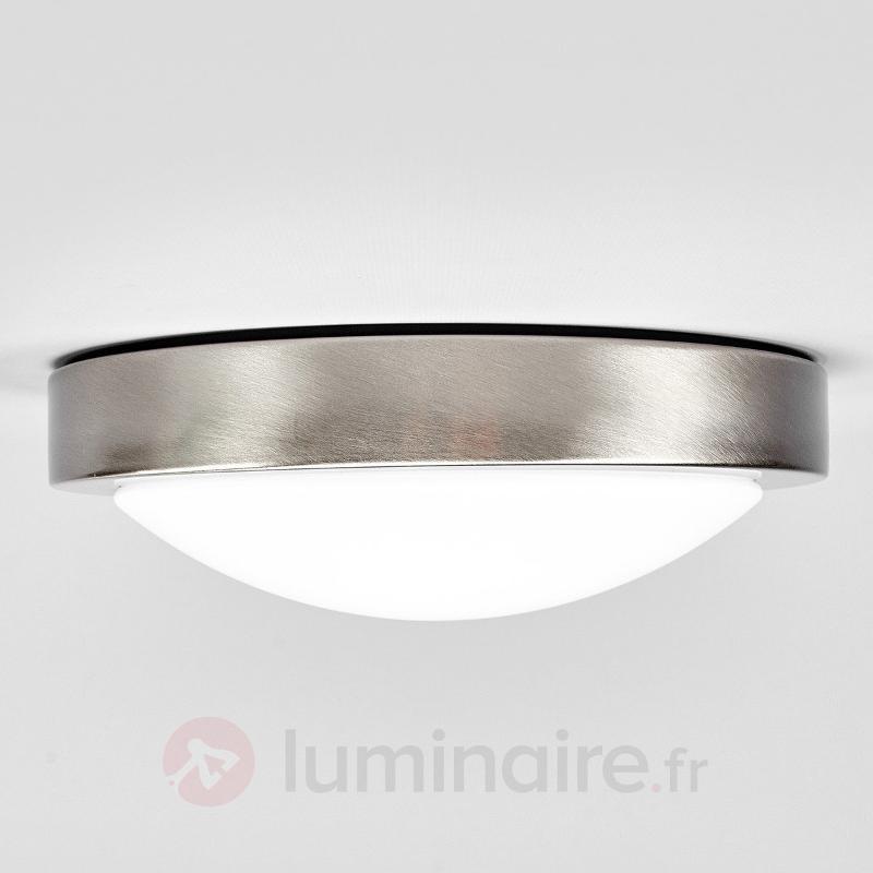 Plafonnier rond LED Aras à détecteur, nickel mat - Plafonniers avec détecteur