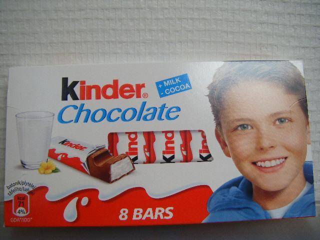 KINDER CHOCOLATE 8 bars of Milk Chocolate + Milk - Cocoa - null