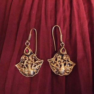 Boucles d'oreilles - Or 20ct, rubis, Tamil Nadu, Inde